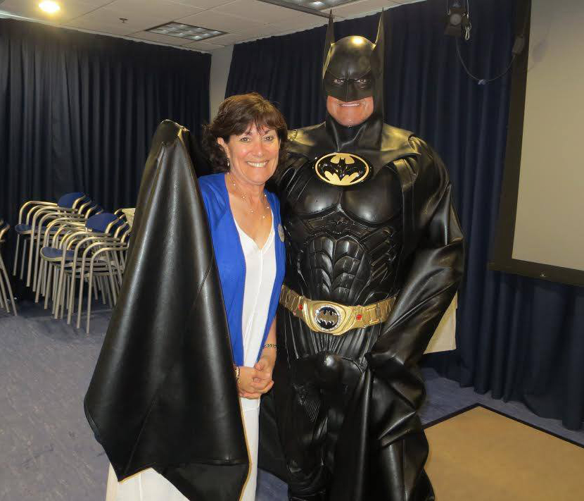 Robin Shapiro, The Children's Inn Volunteer, with Batman