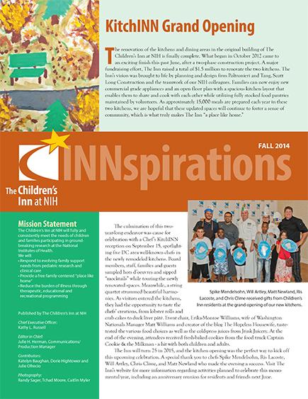 The Children's Inn at NIH 2014 Fall Newsletter