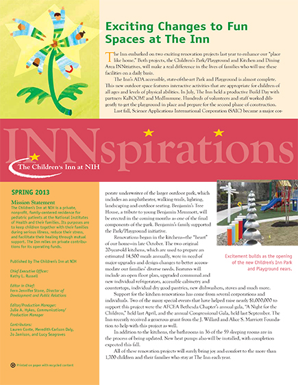 The Children's Inn at NIH 2013 Spring Newsletter
