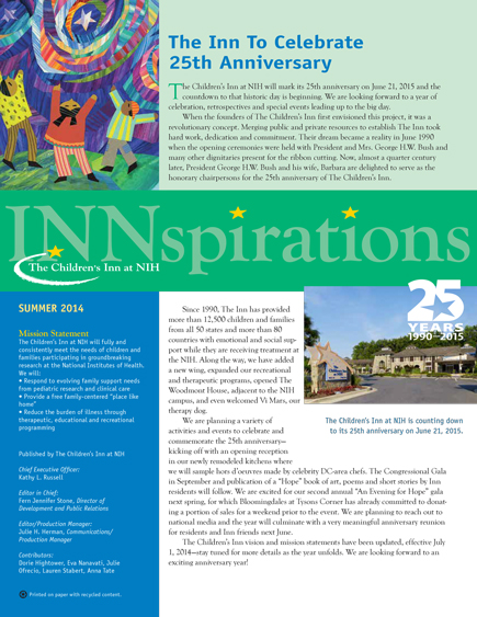 The Children's Inn at NIH 2014 Summer Newsletter