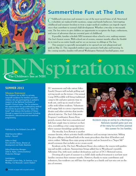 The Children's Inn at NIH 2013 Summer Newsletter