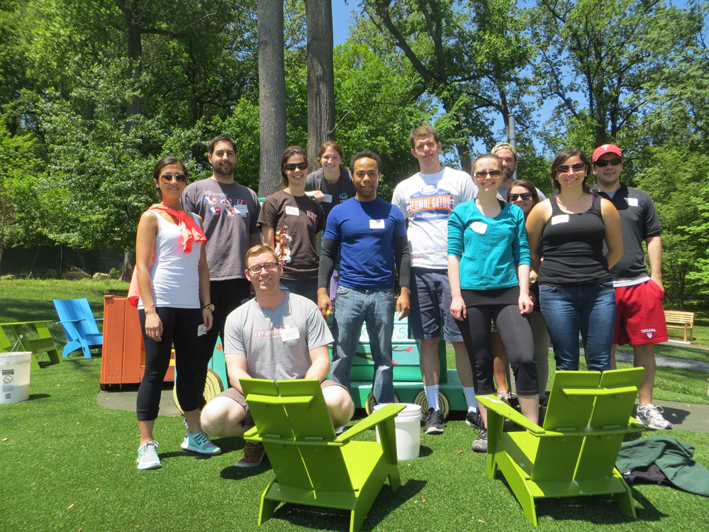Group of Young Ambassadors at Volunteer Service Day on The Children's Inn's Playground