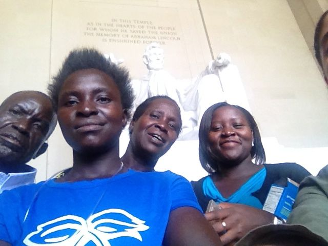 Ugandan family Selfie at Lincoln Memorial