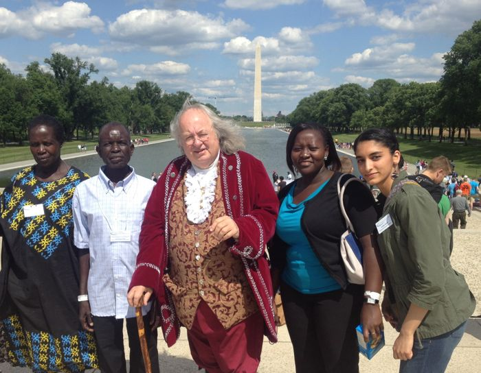 Ugandan Family with Ben Franklin in front of National Monument in Washington, DC