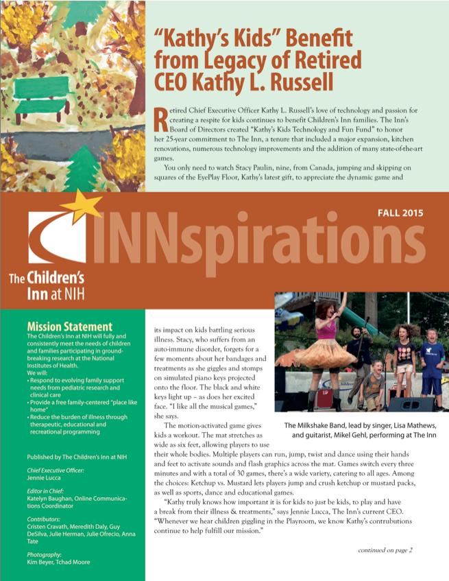 The Children's Inn at NIH Fall newsletter 2015