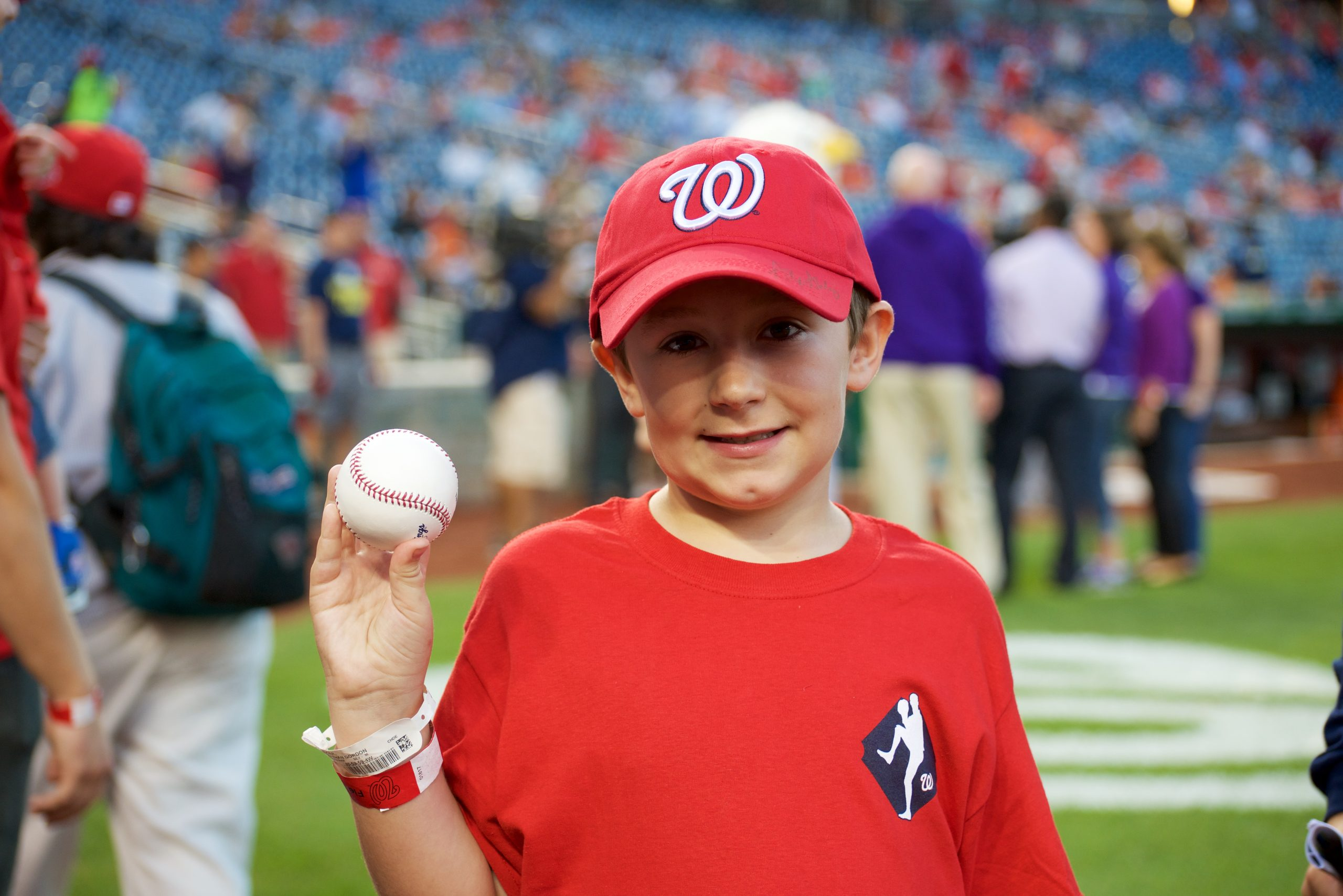 Young boy Jonathan Spencer at Nationals Game