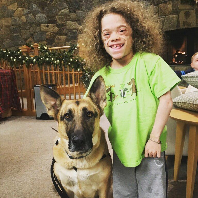 Isaac with German Shepard Dog