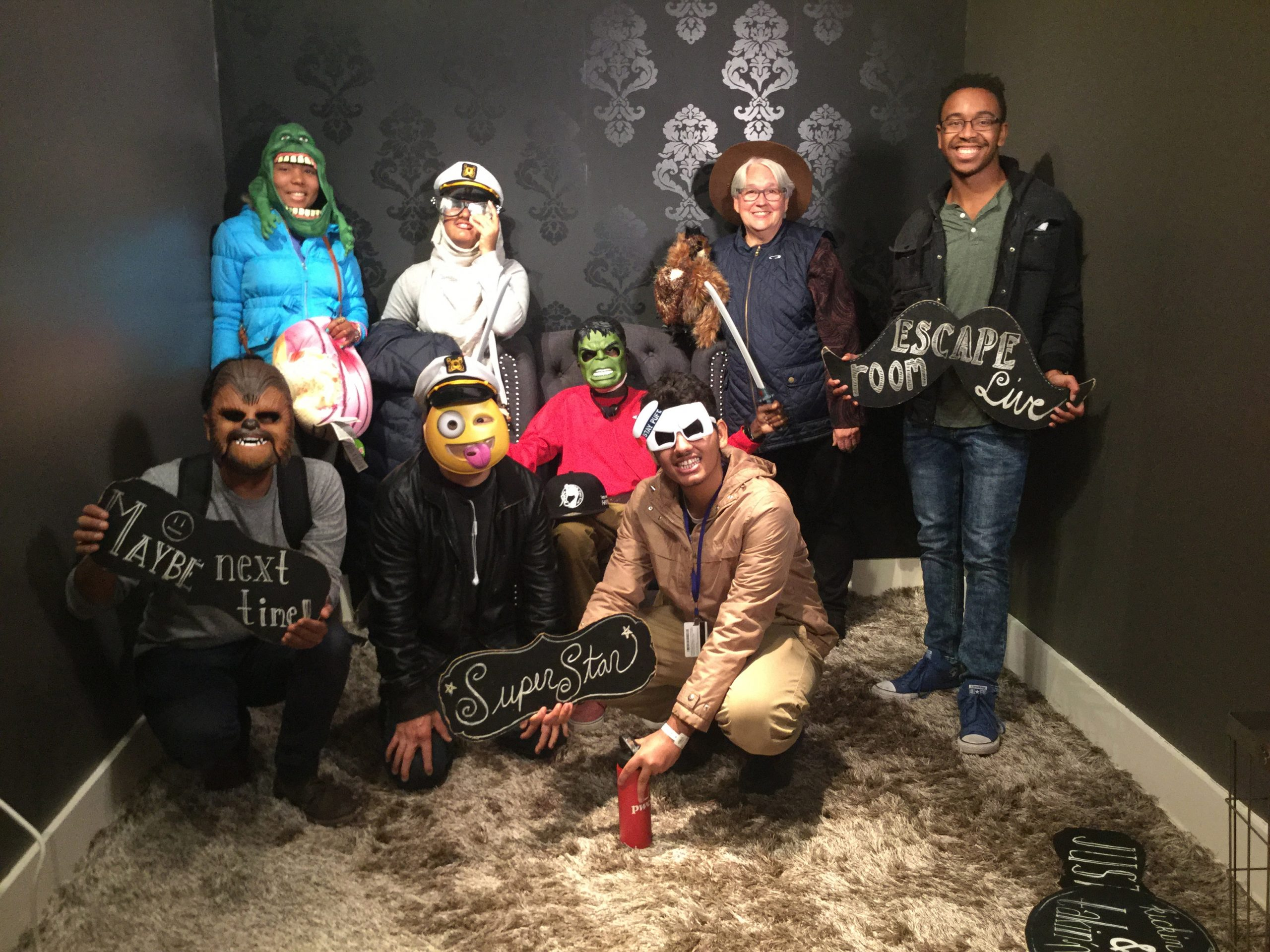 Young Adults in residence together for halloween