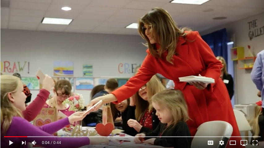 First Lady Melania Trump hands out valentines cards to Inn residents