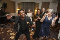 Brandon Showell entertains guests at Hope