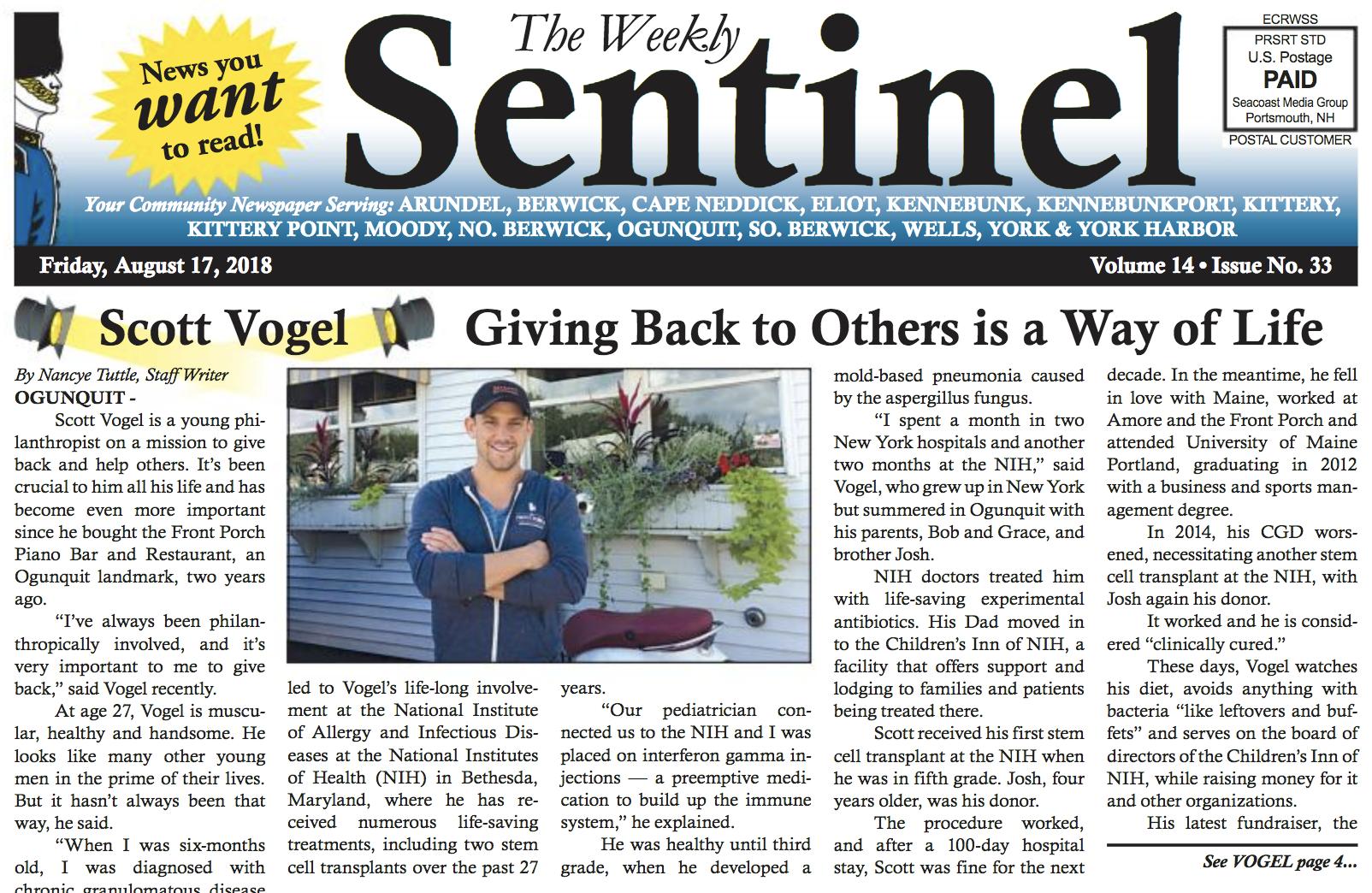 Scott Vogel newspaper article