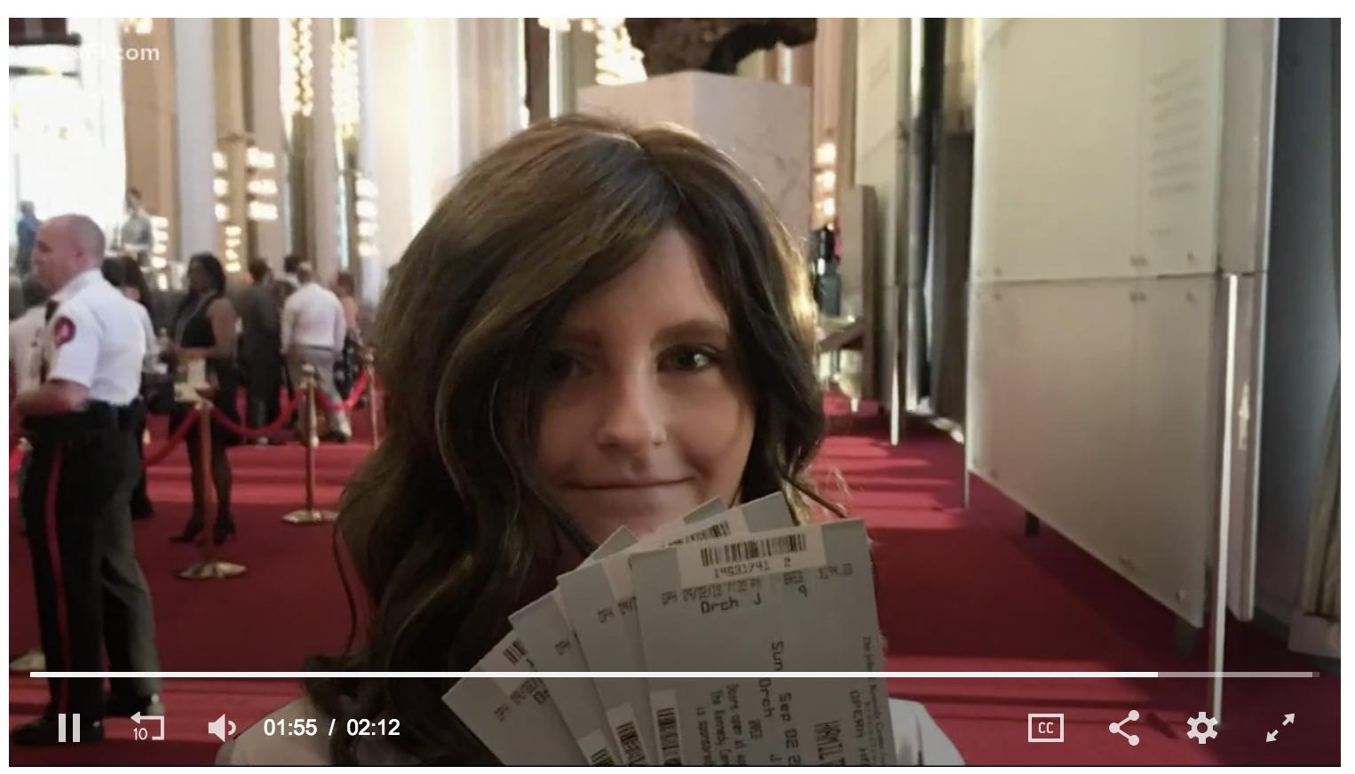 Meghan with Hamilton tickets