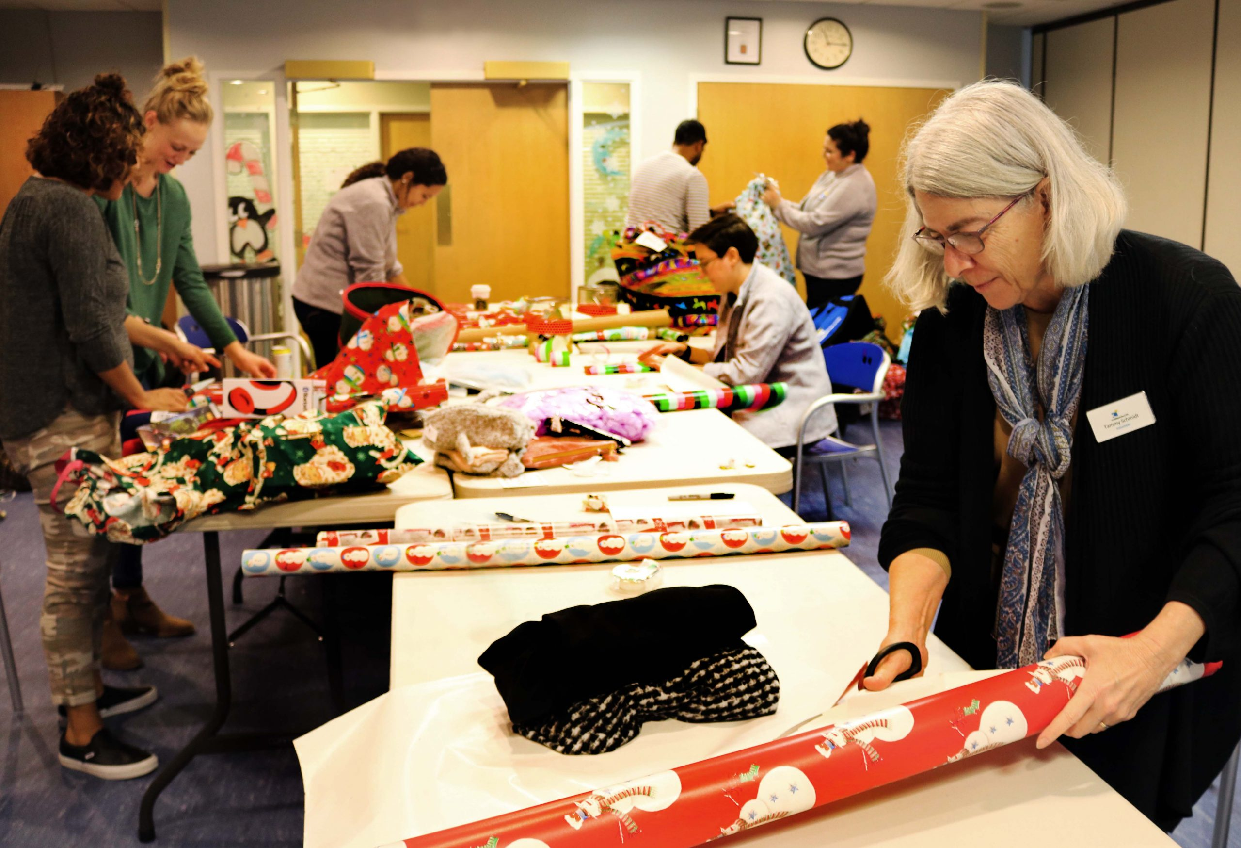 Staff and volunteers gift wrapping