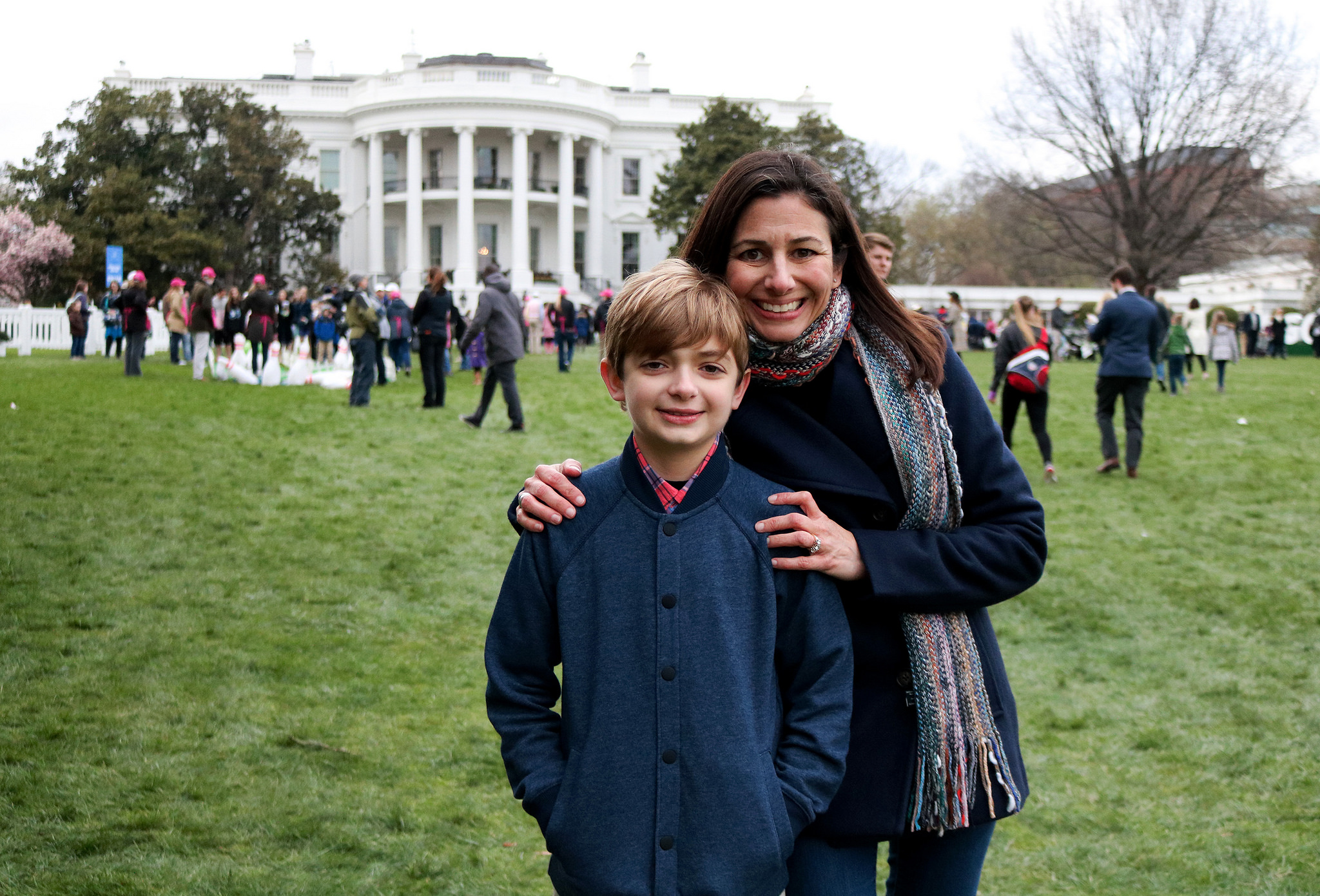 Mother and Son in front of the White House