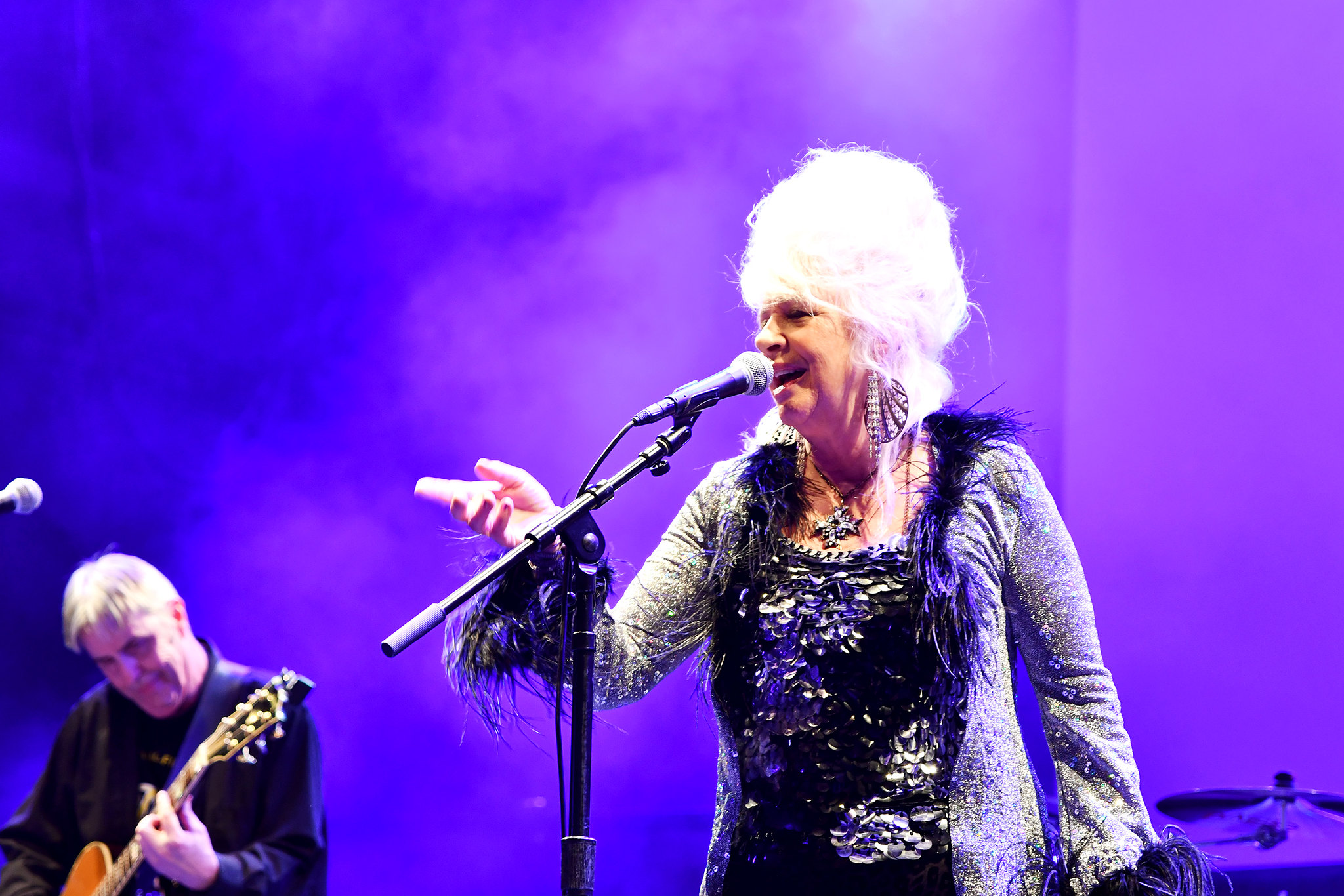 Christine Ohlman, the Beehive Queen, and member of the Saturday Night Live Band performs
