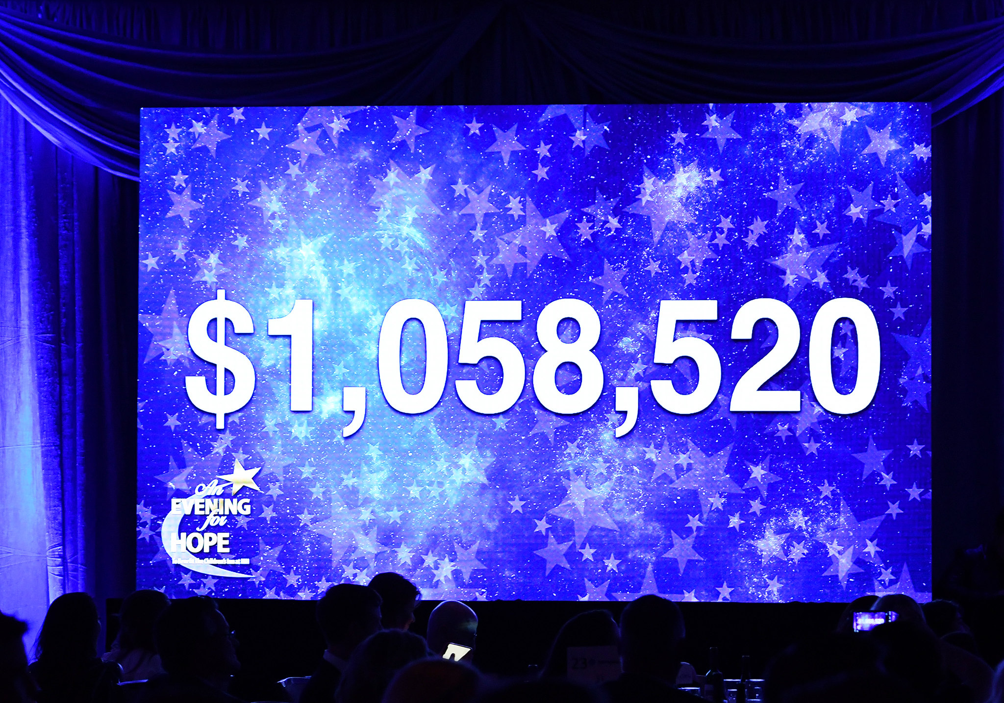 The final, over 1 million dollar total at An Evening for Hope