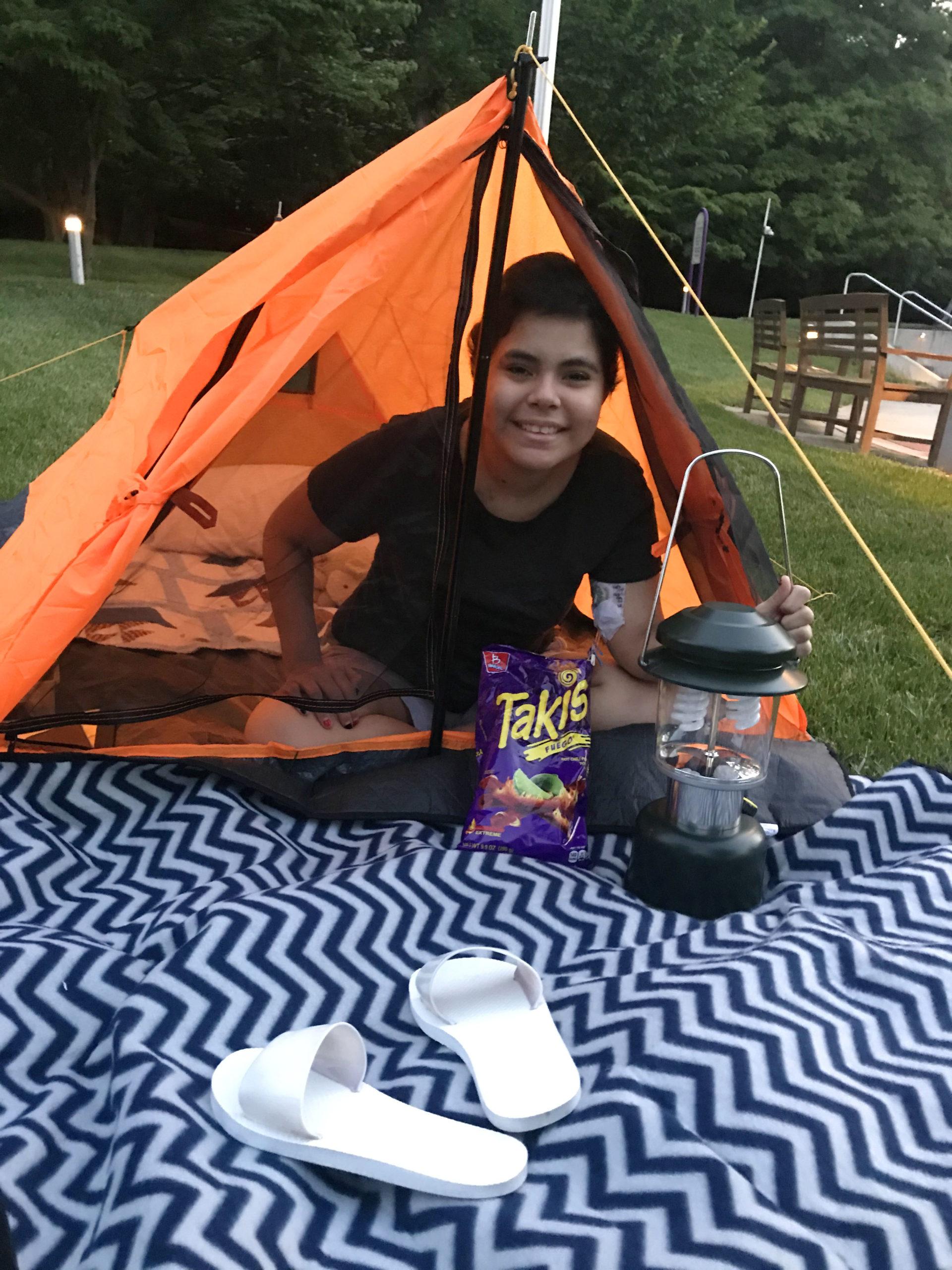 Inn resident Alison in her tent