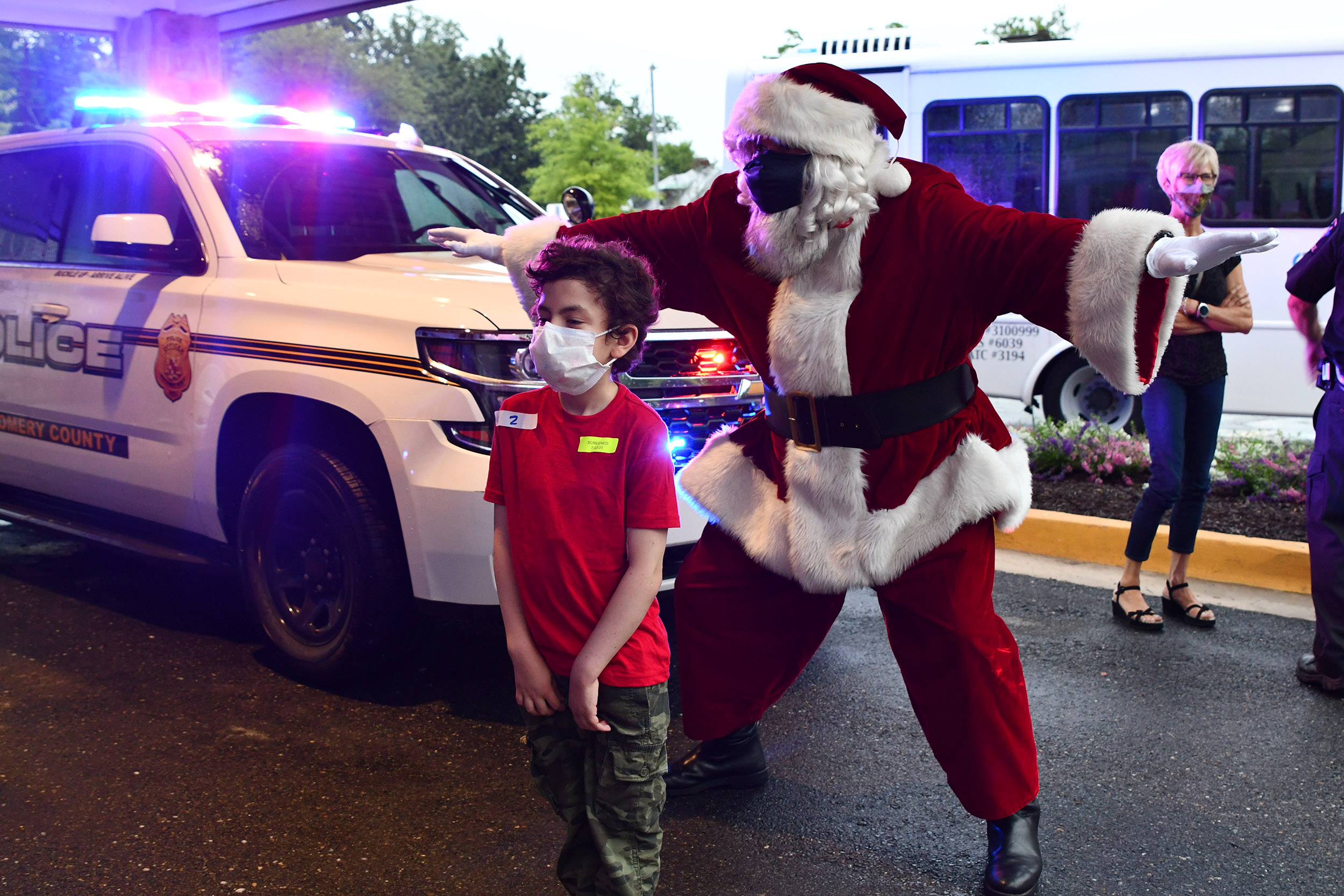 The Police and Santa visiting